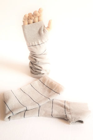 Stripe Cream Arm Warmers