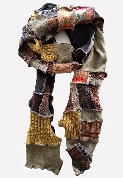 Light Brown Patchwork Scarf - FOAT