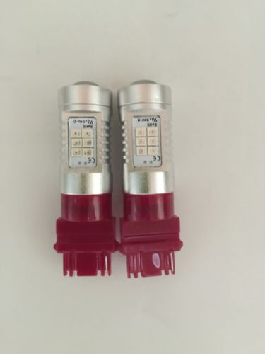 2Pcs LED 2835-21SMD Projector Auto Light Bulbs, Red