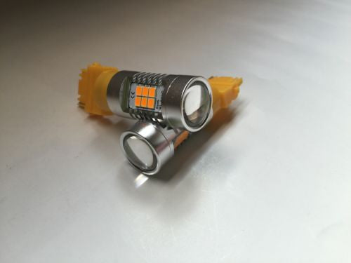 2Pcs 3156/3056/3456 LED 2835-21SMD Projector Auto Light Bulbs, Color Yellow 3000K