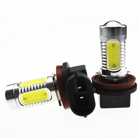 2Pcs High Power Cob 60W & 3800LM/Set Auto LED Fog Light or DRL Bulbs With Projector