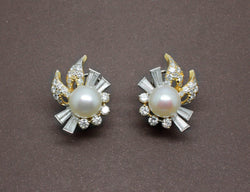 Boucles d'oreille Perles Diamants et Or 18 carat
