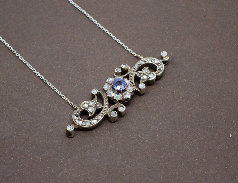 Collier 19ème Saphir Diamants Or et Argent