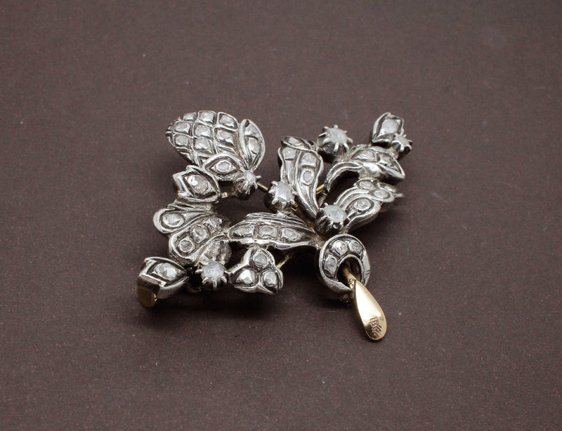 Broche 1900 Argent Or Rose et Diamants