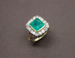 Bague Ancienne Emeraude Diamants