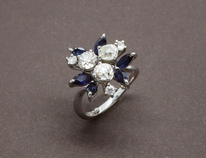 Bague Vintage Diamants et Saphirs Navette
