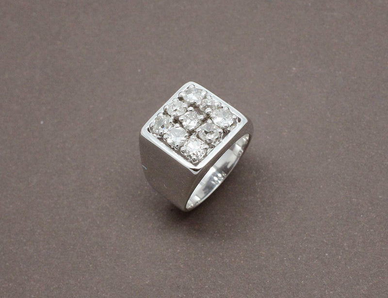 Chevalière Diamants Or Blanc