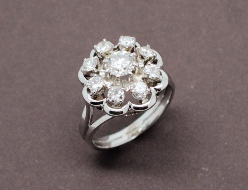 Bague Fleur de Diamants et Or Blanc