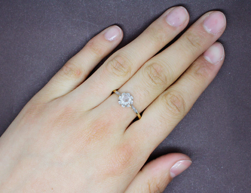 Solitaire 19e Diamant Taille Rose