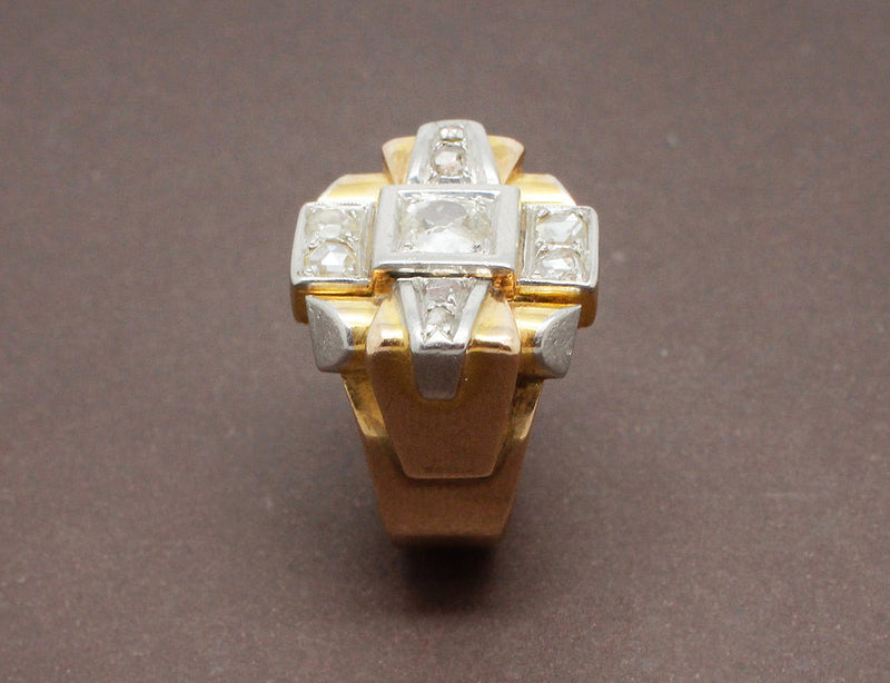 Bague Tank Or Jaune et Diamants