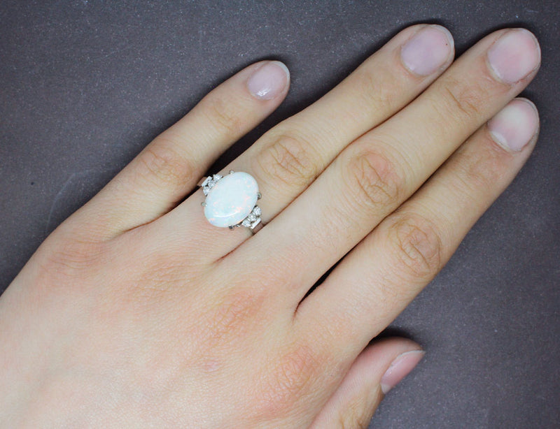 Bague Opale et Diamants