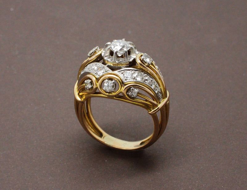 Bague 1950 en Or Platine et Diamants