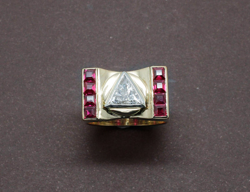 Bague Tank Diamant Triangle