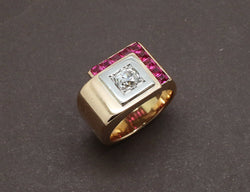 Bague Tank Or Rose et Diamant