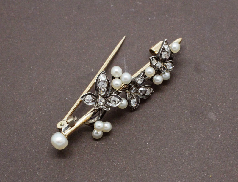 Broche Lierre Diamants et Perles Fines