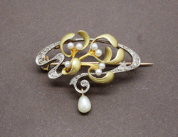 Broche Art Nouveau Perles Fines