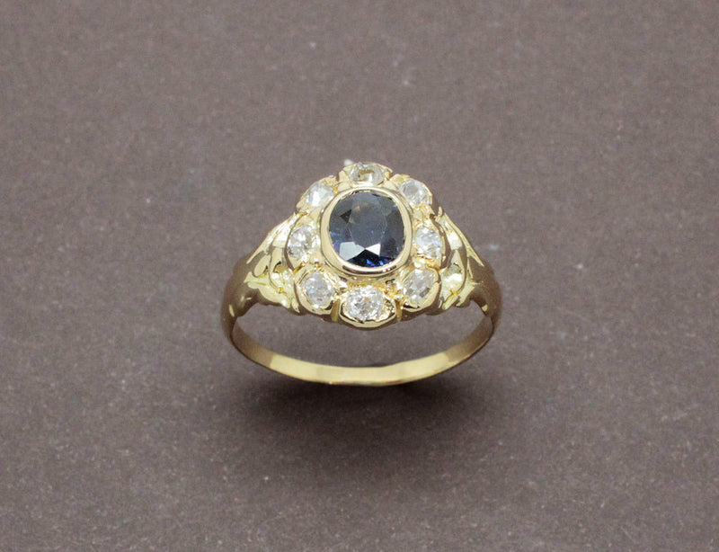 Bague Marguerite Or Saphir Diamants
