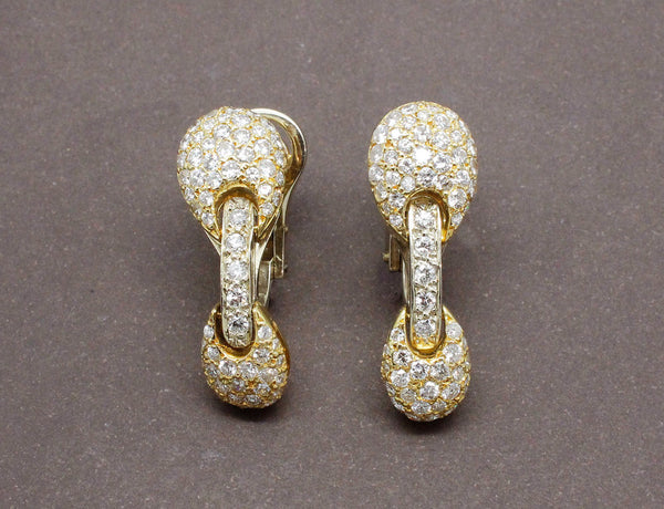 Boucles d'Oreilles Or Jaune Diamants