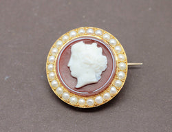 Broche Camée Or Perles Agate