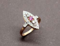 Bague Marquise Rubis Diamants