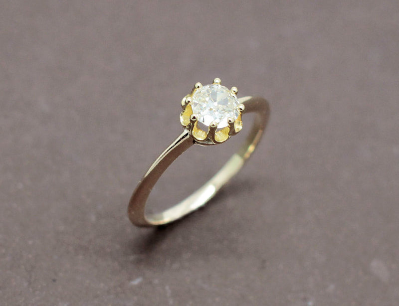 Solitaire Ancien Diamant Or Jaune