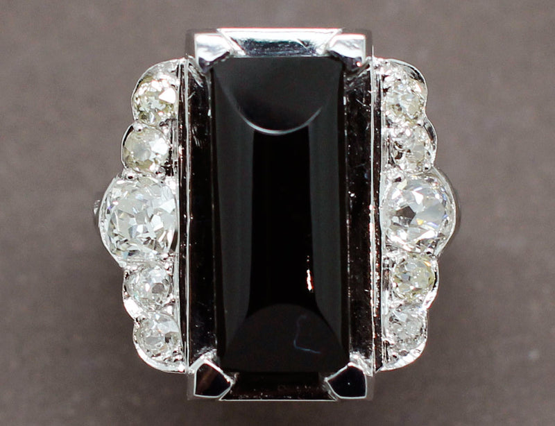 Bague Art Déco Onyx Diamants