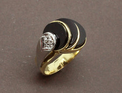 Bague Art Déco Moderniste Onyx et Diamants