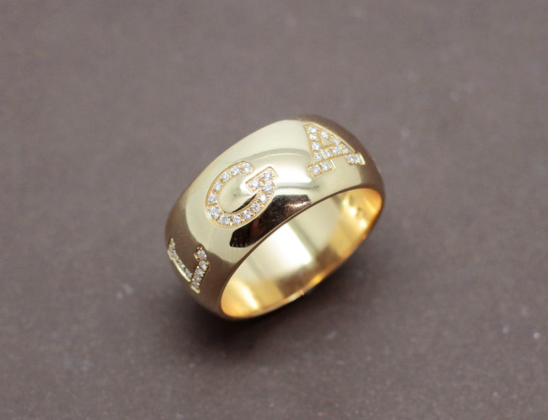 "Bague BVLGARI ""Monologo"" Or Jaune Diamants"