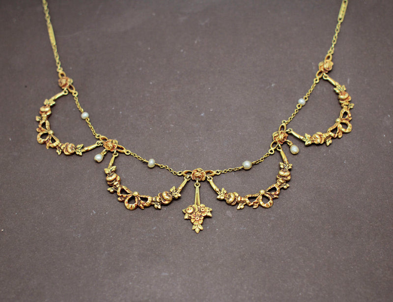 Collier Draperie 1900 Or Jaune