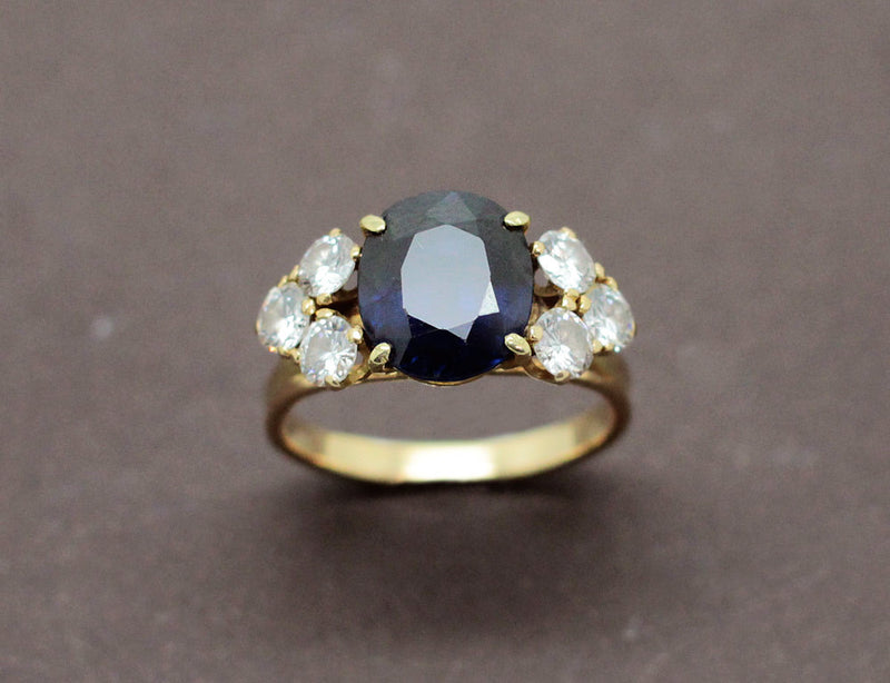 Bague Or Jaune Saphir et Diamants
