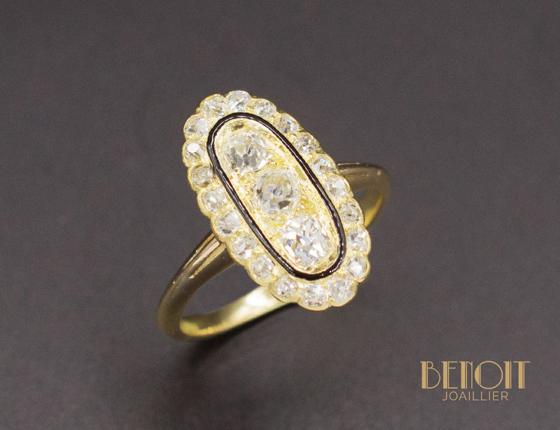 Bague Marquise Diamant Email