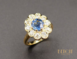 Bague Fleur Saphir Diamants