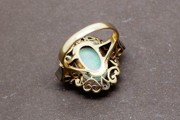 Bague 1900 Opale et Diamants