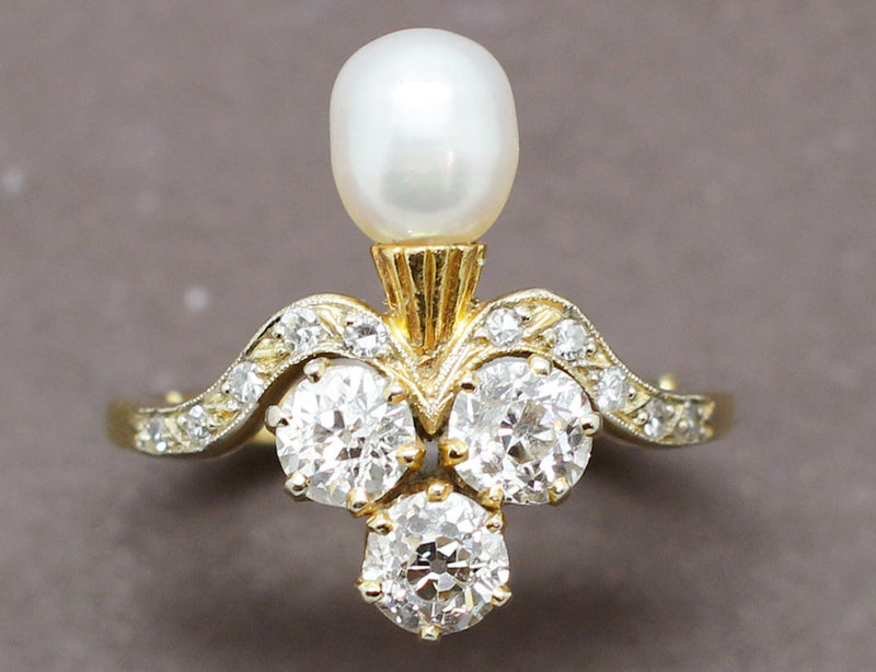 Bague Duchesse Or Diamants Perle