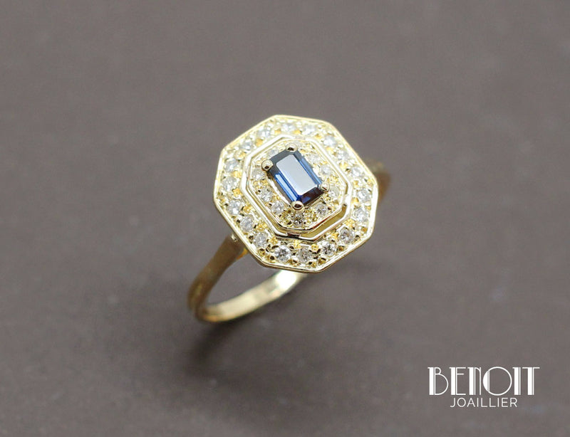 Bague Octogonale Saphir Diamants
