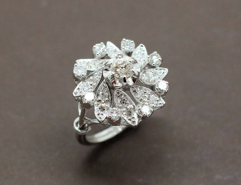 Bague Aigue Marine Diamants 1930