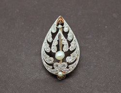 Broche Ancienne Perles Diamants