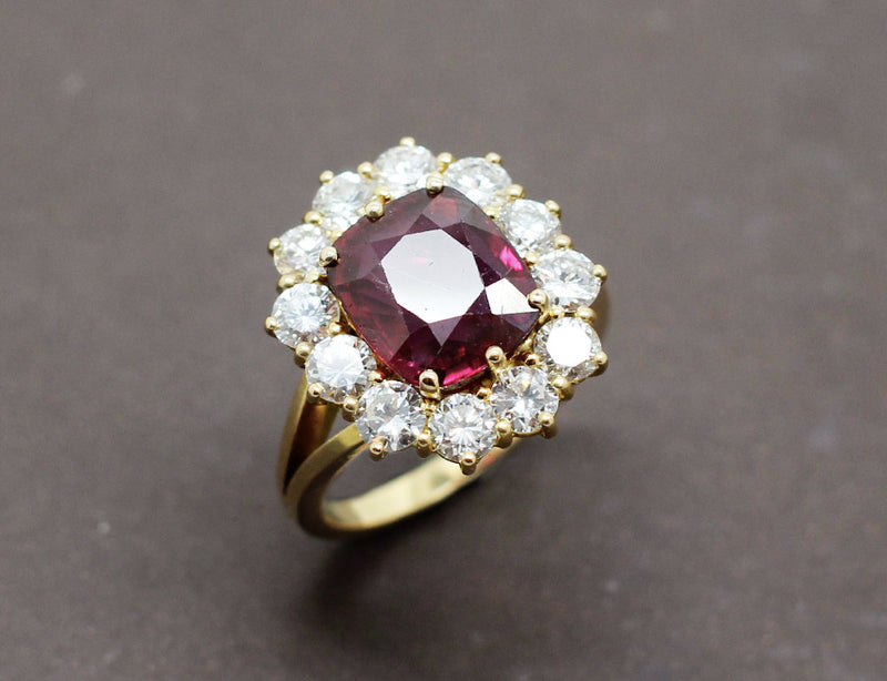 Bague Rubellite Entourage Diamants