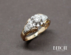 Bague 1950 Or Jaune Platine Diamants