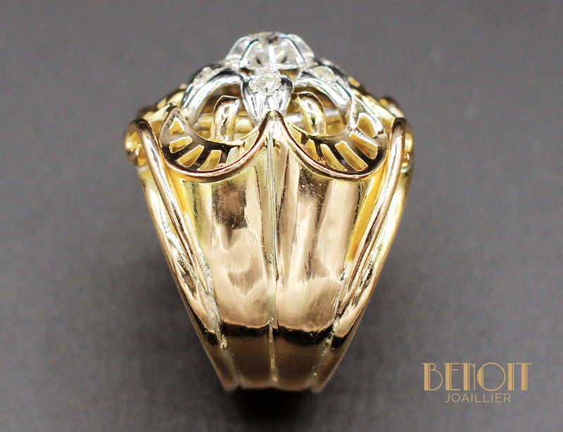 Bague Fleur 1950 Or Jaune Diamants