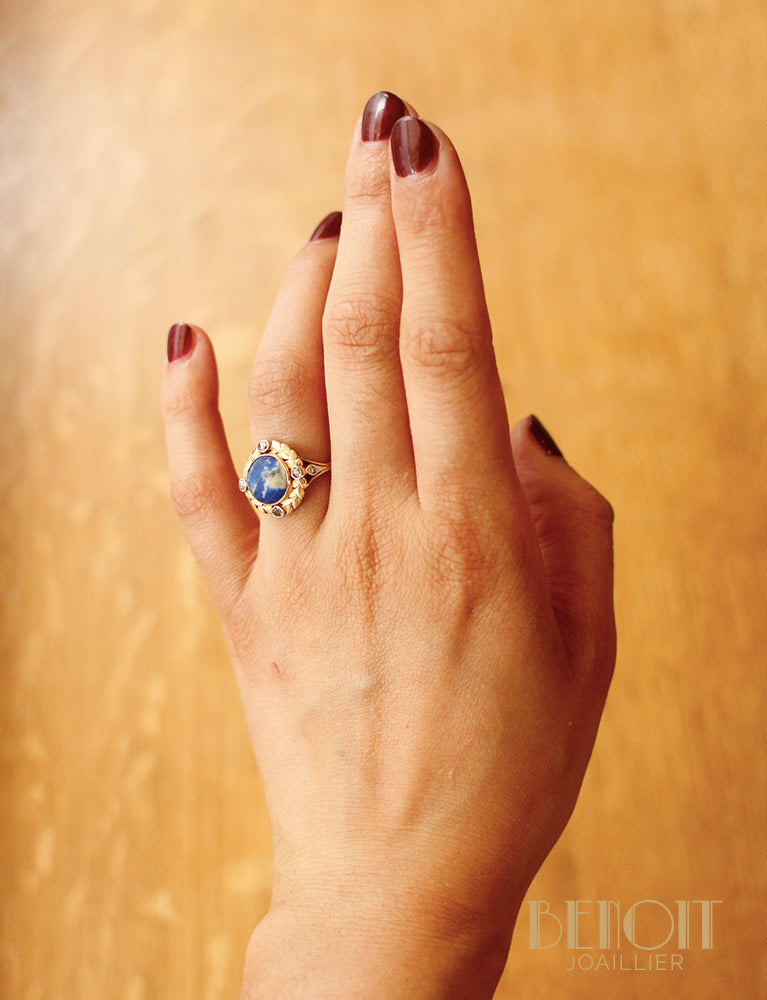 Bague Empire Lapis Lazuli et Diamants