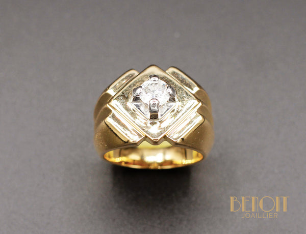 Bague Tank Or Jaune Diamant