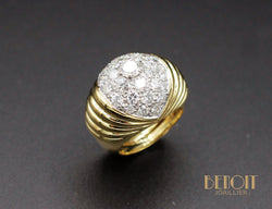 Bague Boule Or Jaune Diamants