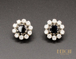 Boucles d'oreilles Saphirs Entourage Diamants