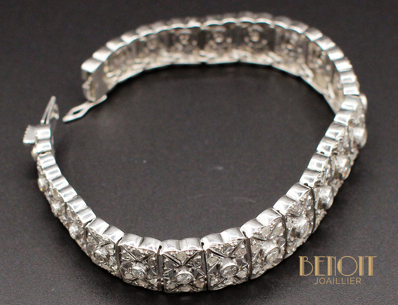 Bracelet Art Déco Argent Diamants