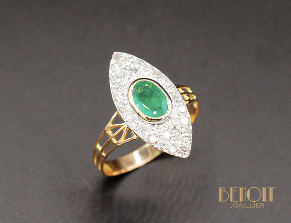 Bague Marquise Emeraude Diamants