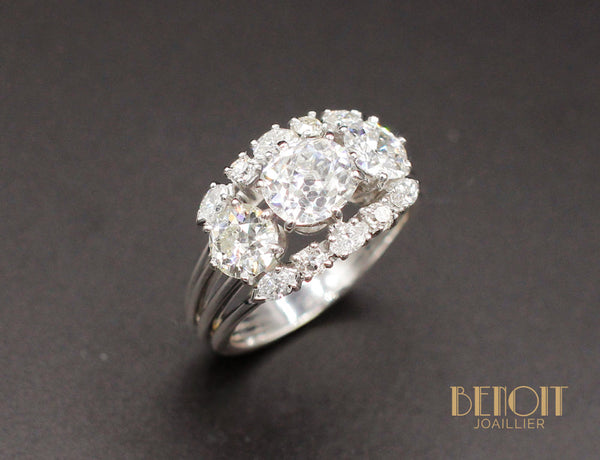 Bague 1950 Or Blanc Diamants