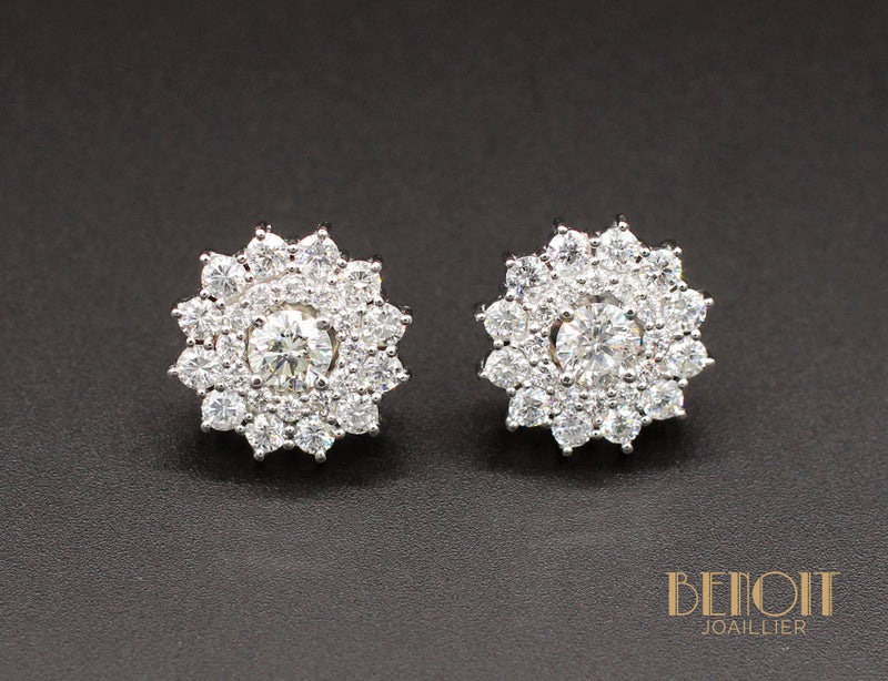 Boucles d'Oreilles Flocons En Diamants