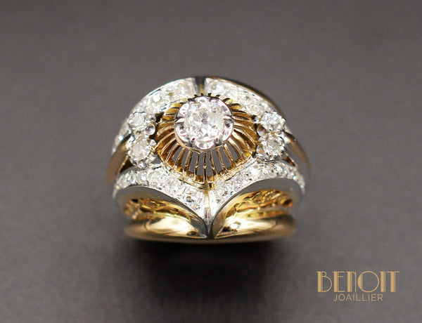 Bague Cocktail 1950 Or Diamant