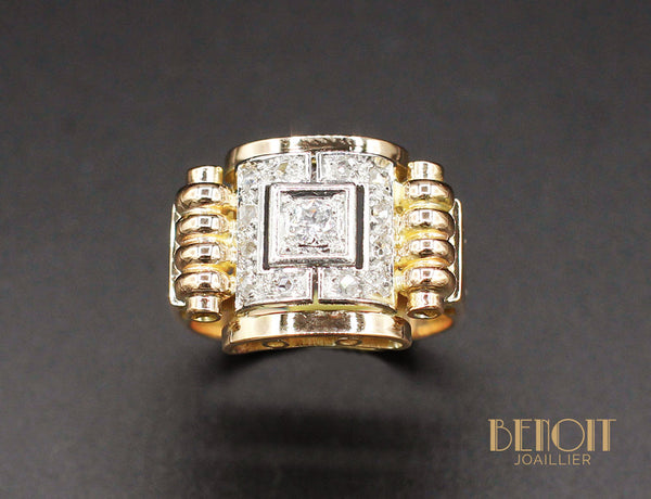 Bague 1950 Or Jaune Diamants